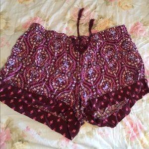 Boho print, floral shorts, paisley
